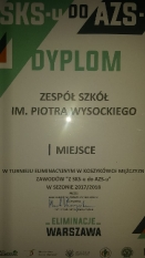 Dyplom za I miejsce w Warszawie w turnieju SKS-u do AZS-u