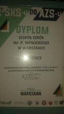 Dyplom za VI miejsce w Polsce w turnieju SKS-u do AZS-u